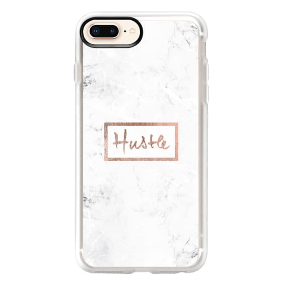 iPhone 8 Plus Cases - Modern rose gold Hustle typography white marble