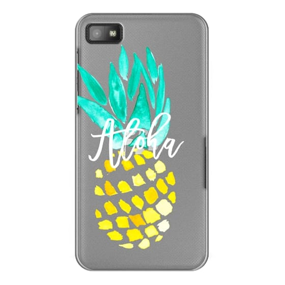 Blackberry Z10 Cases - Modern yellow turquoise watercolor hand painted pineapple Aloha tropical script typography pattern by Girly Trend