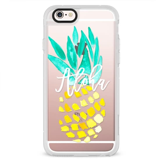iPhone 4 Cases - Modern yellow turquoise watercolor hand painted pineapple Aloha tropical script typography pattern by Girly Trend