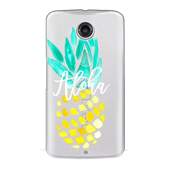 Modern yellow turquoise watercolor hand painted pineapple Aloha tropical script typography pattern by Girly Trend