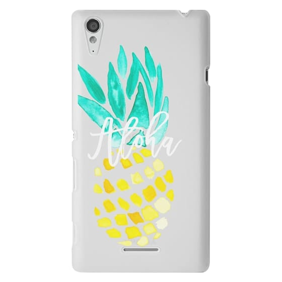 Sony T3 Cases - Modern yellow turquoise watercolor hand painted pineapple Aloha tropical script typography pattern by Girly Trend