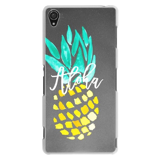 Sony Z3 Cases - Modern yellow turquoise watercolor hand painted pineapple Aloha tropical script typography pattern by Girly Trend