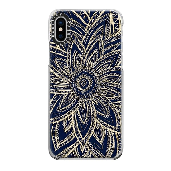 iPhone X Cases - Cute Retro Gold abstract Flower Drawing on Black
