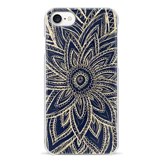iPhone 7 Cases - Cute Retro Gold abstract Flower Drawing on Black