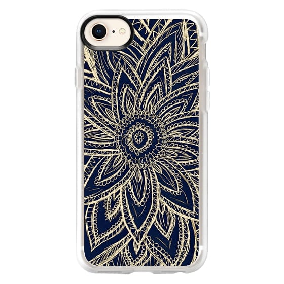 iPhone 8 Cases - Cute Retro Gold abstract Flower Drawing on Black