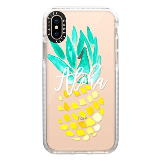 iPhone XS Cases - Modern yellow turquoise watercolor hand painted pineapple Aloha tropical script typography pattern by Girly Trend