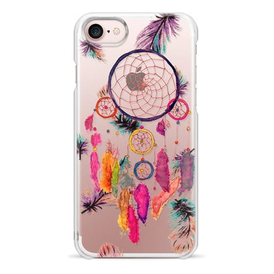 iPhone 7 Cases - Modern boho watercolor pink yellow dreamcatcher and feathers pattern hand paint transparent by Girly Trend