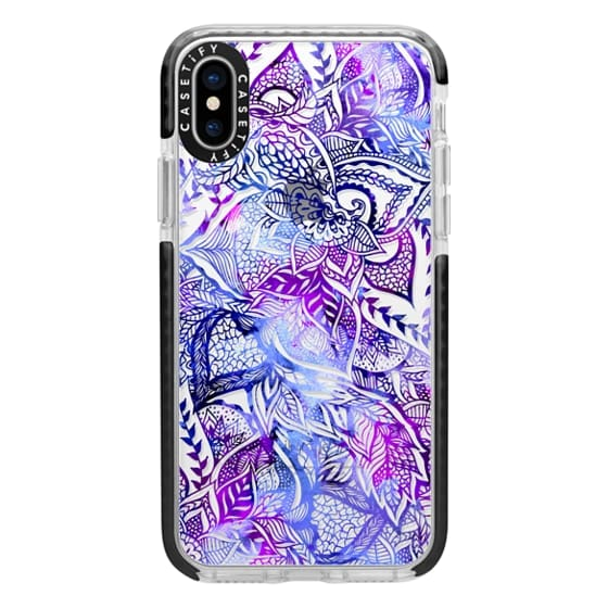 iPhone X Cases - Purple blue watercolor floral lace mandala hand drawn illustration by Girly Trend