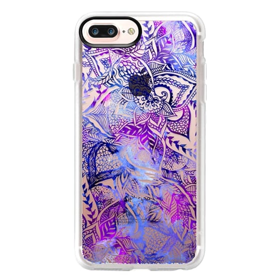 iPhone 7 Plus Cases - Purple blue watercolor floral lace mandala hand drawn illustration by Girly Trend