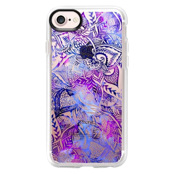 iPhone 7 Cases - Purple blue watercolor floral lace mandala hand drawn illustration by Girly Trend