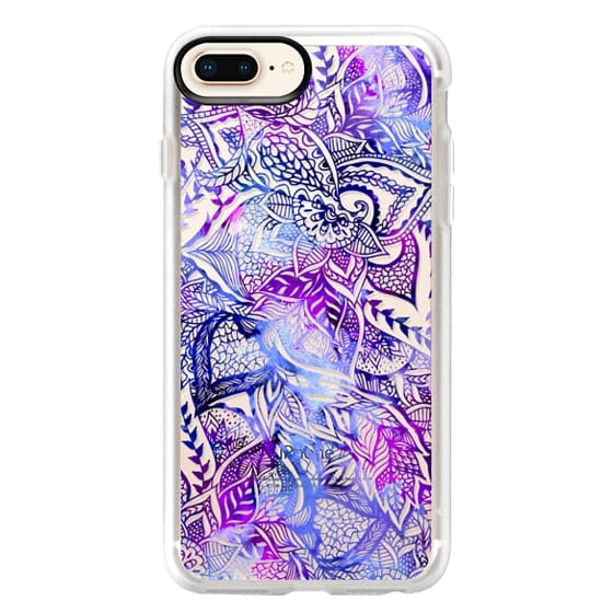 iPhone 8 Plus Cases - Purple blue watercolor floral lace mandala hand drawn illustration by Girly Trend