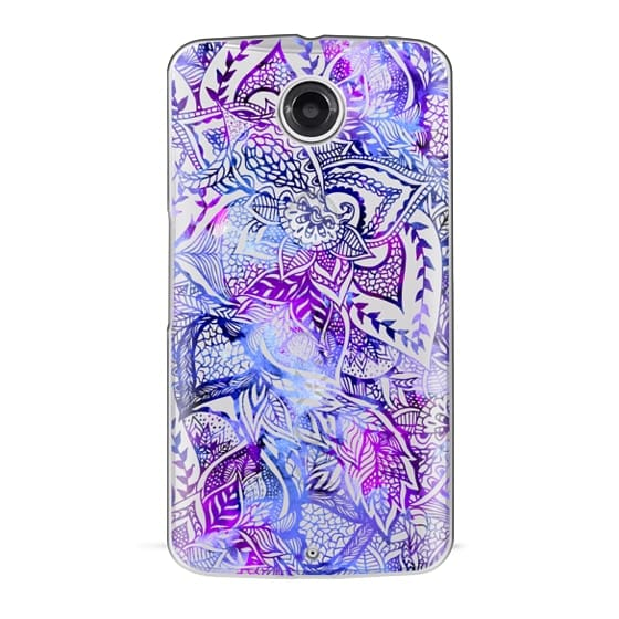 Nexus 6 Cases - Purple blue watercolor floral lace mandala hand drawn illustration by Girly Trend