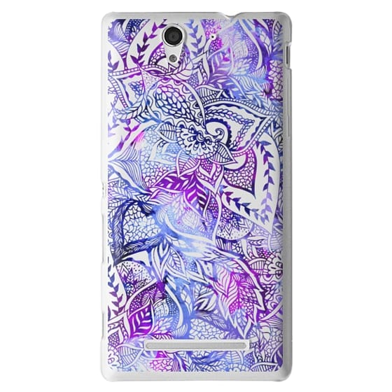 Sony C3 Cases - Purple blue watercolor floral lace mandala hand drawn illustration by Girly Trend