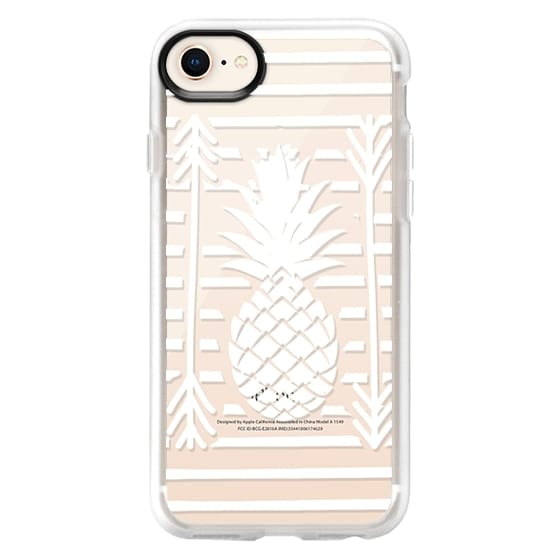 iPhone 8 Cases - Modern white arrows atripes pineapple illustration by Girly Trend