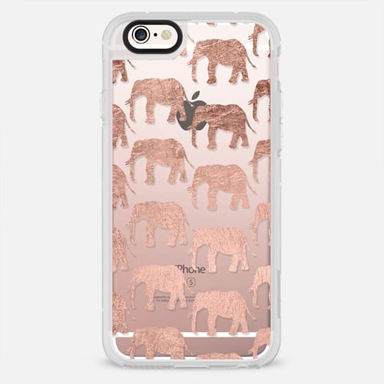 Modern simple rose gold elephants silhouettes pattern transparent by Girly Trend - New Standard Case