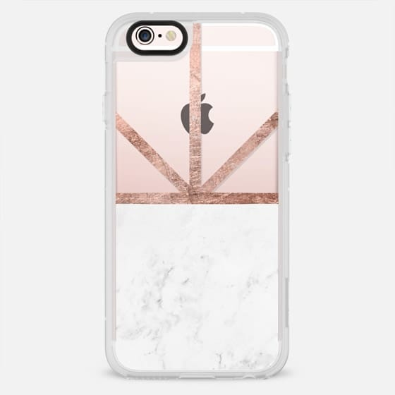 Modern white marble color block rose gold stripes by Girly Trend - New Standard Case