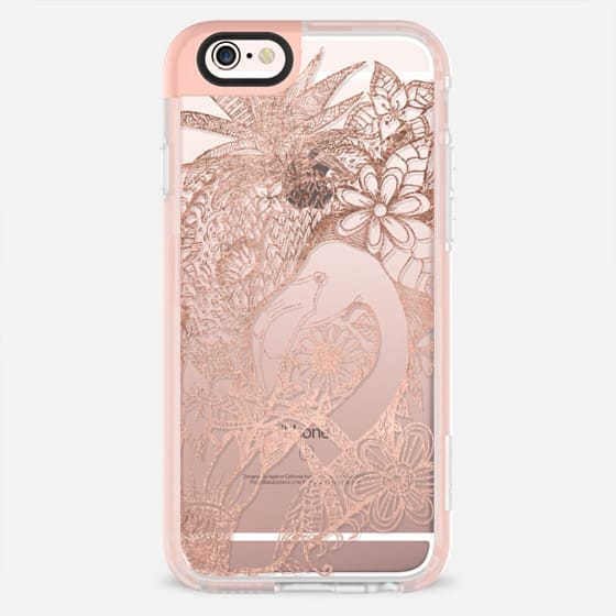 Modern rose gold flamingo pineapple exotic flowers illustration by Girly Trend - New Standard Pastel Case