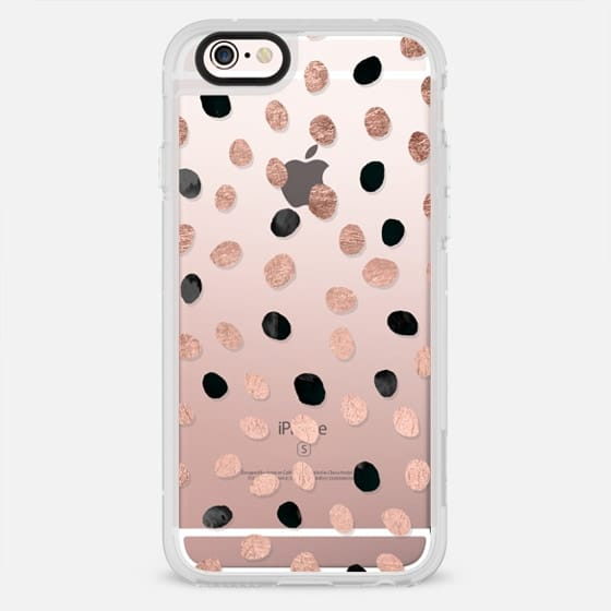 Modern simple chic rose gold black watercolor hand drawn polka dots pattern by Girly Trend - New Standard Case