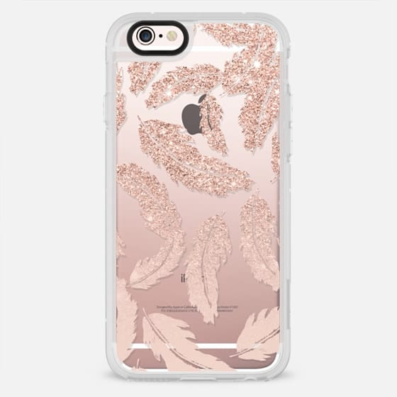 Chic modern rose gold glitter pastel blush pink feathers semi transparent by Girly Trend - New Standard Case
