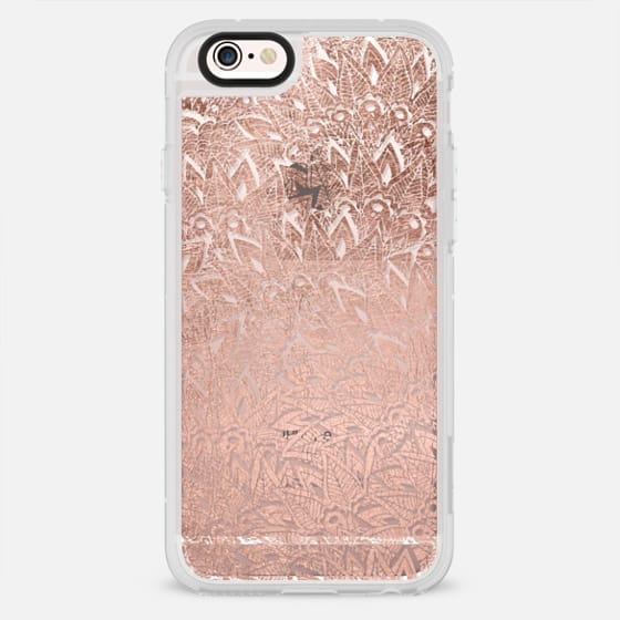 Modern rose gold feathers leaf mandala boho illustration by Girly Trend - New Standard Case