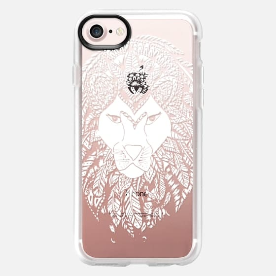 Modern white handdrawn lion feathers mandala illustration by Girly Trend -