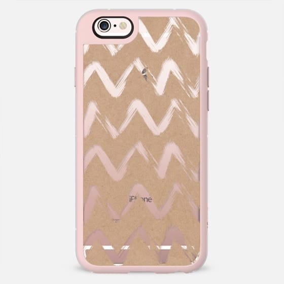 Rustic brown faux kraft paper geometric chevron pattern by Girly Trend -
