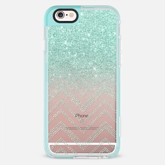 Chic elegant faux teal gold glitter ombre modern geometric chevron pattern fashion stitch by Girly Trend - New Standard Pastel Case