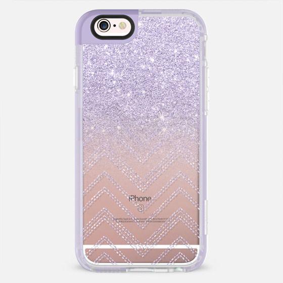 Chic elegant faux purple lavender glitter ombre modern geometric chevron pattern fashion stitch by Girly Trend - New Standard Pastel Case