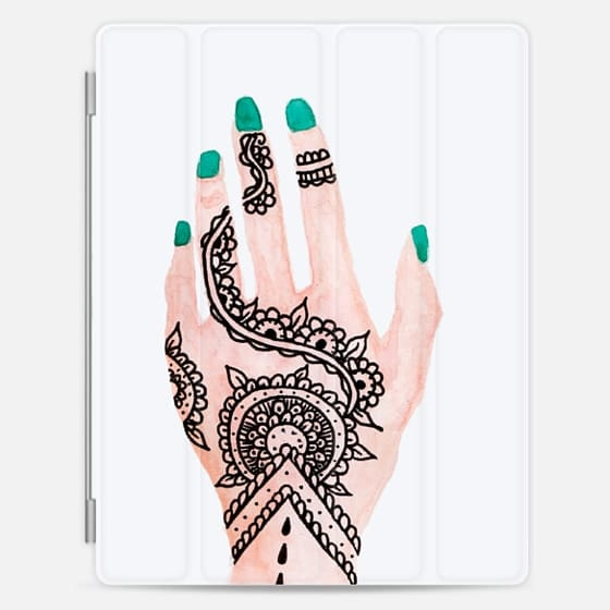 Modern hand painted watercolor hand floral mandala henna tattoo turquoise nails illustration by Girly Trend -