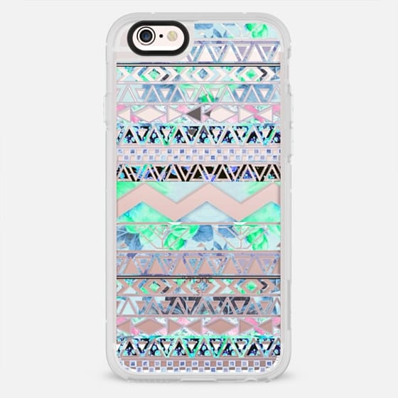 Turquoise teal floral aztec pattern transparent by Girly Trend - New Standard Case