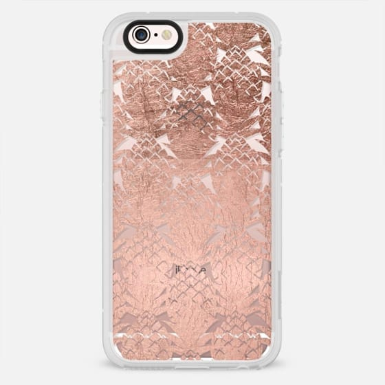 Modern faux rose gold foil pineapple fruits watercolor pattern by Girly Trend - New Standard Case