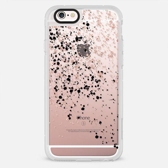 Modern elegant rose gold glitter black confetti splatters by Girly Trend - New Standard Case