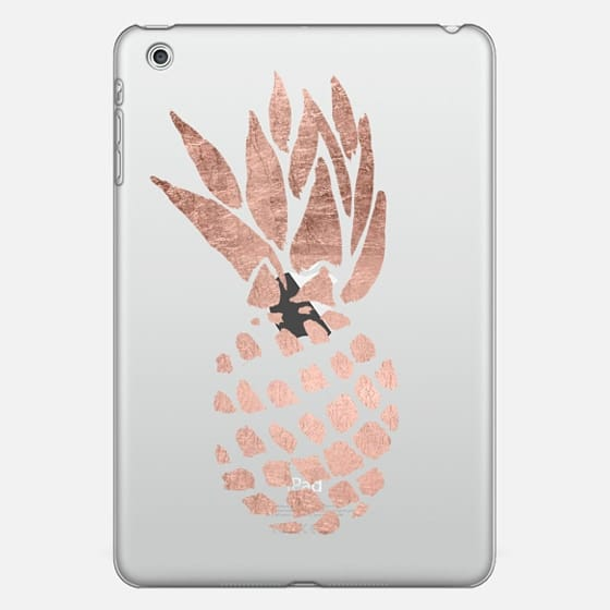 Modern chic rose gold foil hand painted pineapple fruit by Girly Trend -