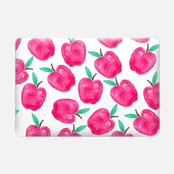 Pink turquoise watercolor hand painted apple back to school by Girly Trend -