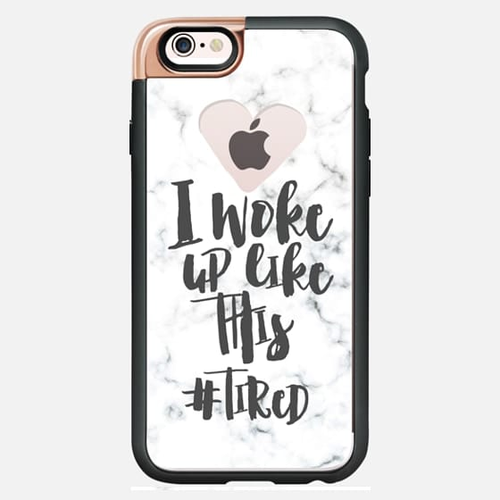 Modern typography quote I woke up like this - tired white marble semi transparent  heart by Girly Trend - New Standard Luxe Case