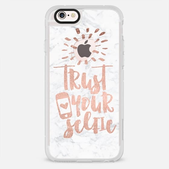 Modern typography trendy quote trust your selfie rose gold foil white marble by Girly Trend - New Standard Case