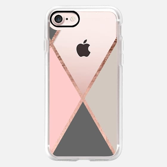 Modern pastel pink gray color block rose gold stripes by Girly Trend -