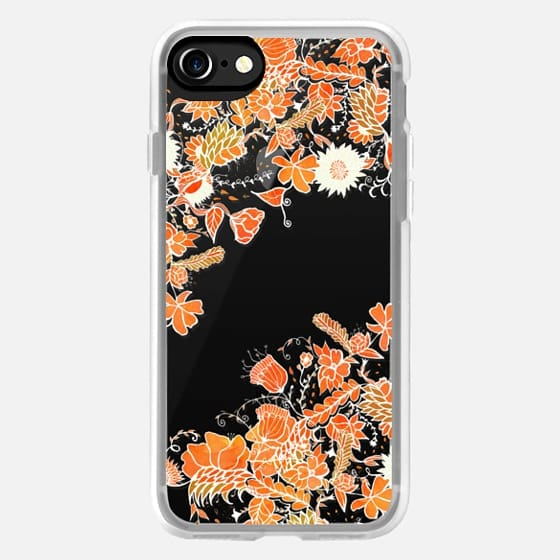 Modern Autumn fall hand drawn floral orange watercolor by Girly Trend -