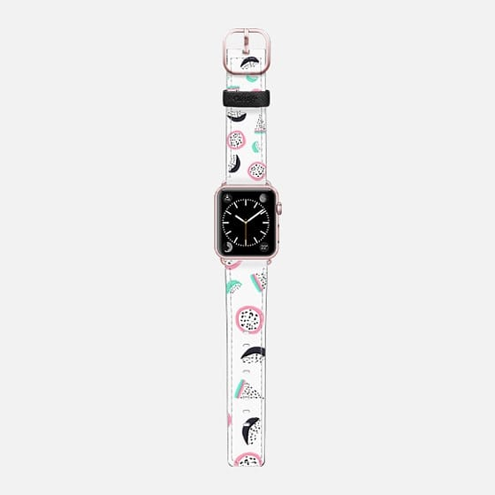 Modern hand drawn tropical abstract geometric pink turquoise pastel fruits pattern by Girly Trend - Saffiano Leather Watch Band