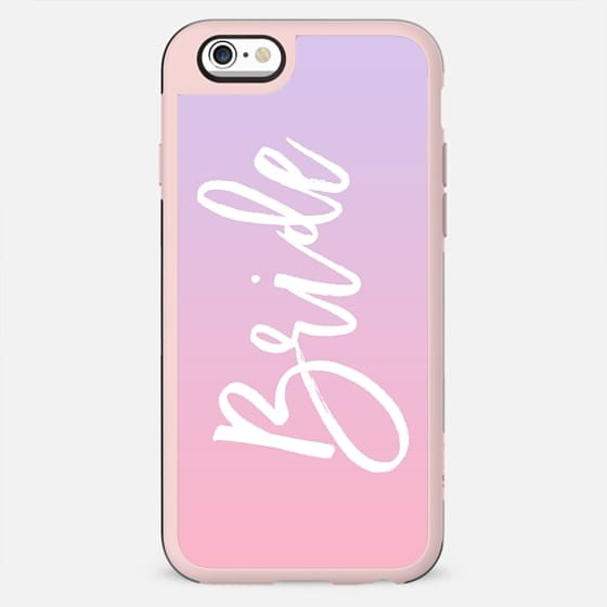 Modern white typography bride wedding pink purple gradient ombre by Girly Trend - New Standard Case