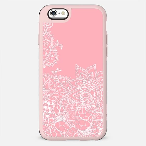 Modern white floral pattern handdrawn illustration on girly summer spring pastel pink by Girly Trend - New Standard Case