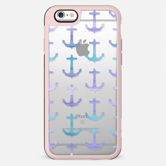 Modern pastel purple lavender blue watercolor summer nautical anchors pattern by Girly Trend - New Standard Case