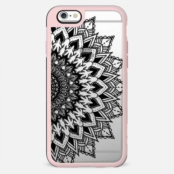Modern hand drawn black floral mandala summer boho transparent by Girly Trend