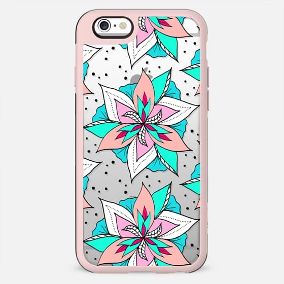 Modern pastel pink salmon turquoise floral summer black polka dots pattern by Girly Trend - New Standard Case