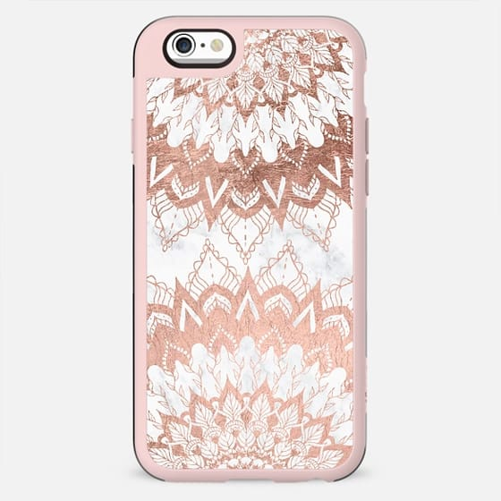 Modern chic rose gold floral mandala illustration on trendy white marble by Girly Trend - New Standard Case