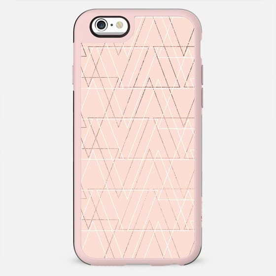 Modern white rose gold abstract geometric triangles on blush pink by Girly Trend