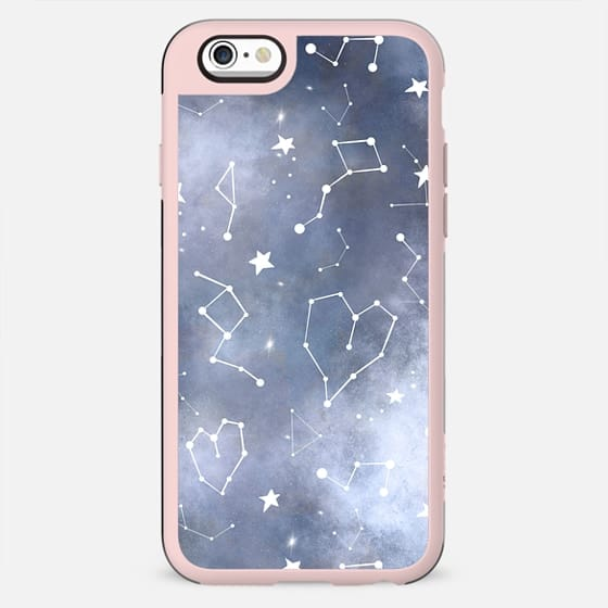 Modern black grey white nebula watercolor hearts constellation stars universe pattern by Girly Trend - New Standard Case