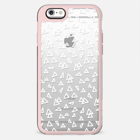 Modern geometric hand drawn minimalist white triangles transparent pattern by Girly Trend - New Standard Case