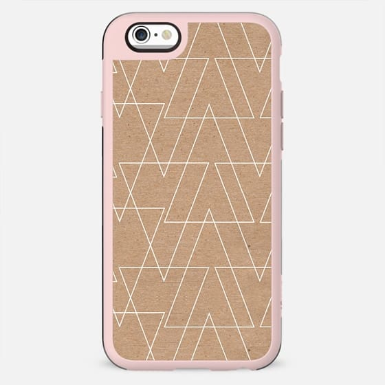 White abstract geometric triangles pattern on brown kraft by Girly Trend - New Standard Case