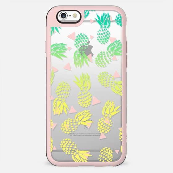 Modern summer tropical turquoise yellow pineapples ombre gradient pink triangles pattern illustration by Girly Trend